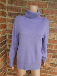 APT. 9 100% Cashmere Turtleneck Size L Women Sweater Top Long Sleeve Purple #Apt9 #TurtleneckMock