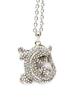 Crystal Gekko Pendant Necklace.