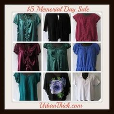 #MemorialDaySale - Huge Sale! Check out our $5 Memorial Day 4-Day Sale starting today, Friday - Monday May 30th! #sale #5dollars #cuteclothes #blouses #tops #currvyfashion #oldnavy #lanebryant #dressbarn #sale #curvy #cute #cheap #buynow #urbanthick http://www.urbanthick.com/store/c238/Memorial_Day_Sale.html