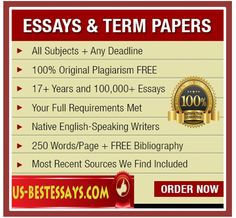 U.S Best Essays is the ultimate writing service which is orientated towards the total improvement of the level of writing, ingenuity and uniqueness of each paper, rapid and secure delivery and meticulous investigation done for all papers you buy.  http://www.us-bestessays.com/termpaper.php