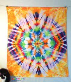 Your place to buy and sell all things handmade Tie Dye Tapestry, Tie Dye Party, Blue Yellow, Purple, How To Tie Dye, Sharon Stone, Casino Theme Parties, Picture Cards, My New Room