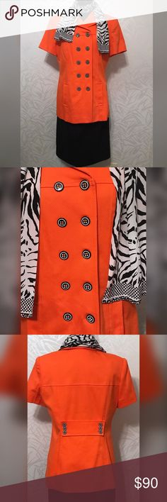 Rickie Freeman for Teri Jon Suits Size 12 Fantastic suit!!  Rickie Freeman for Teri Jon Suits  Size 12 Cotton, Polyester & Spandex Zebra print scarf is 100% Silk Excellent Used Condition Teri Jon Skirts Skirt Sets