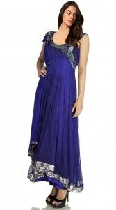 Royal Blue Net Long Tail Anarkali Suit SU201