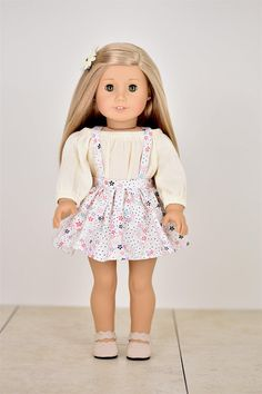 Jena Skirt  18 inch doll clothes Removable Suspenders
