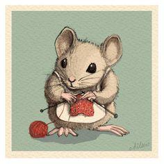From the fabulous artist, Aileen Leijten. 2013. mouse knitting art