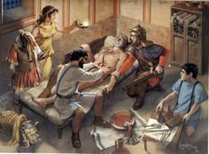 Roman military surgeon at work, artwork by Angus McBride