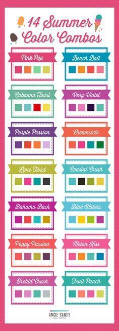 14 brilhante do verão Paletas de cores | Licenciamento Angie Sandy Art & Design #angiesandy #colorcrush #colorpalette