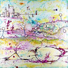 "Salome Hidalgo, ""Mundoaparte XVIII"", technika mieszana na płótnie/ mixed media on canvas, year: 2014, 120cm x 120cm"