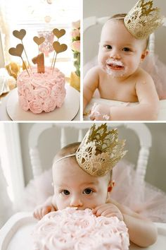 Celebrate your baby's first birthday in style with inspiration from this floral-themed party fit for a princess! Get ideas for must-take photographs to capture when your child turns one as well as ideas for a sweet, rosey pink smash cake perfect for the birthday girl to get her hands into!