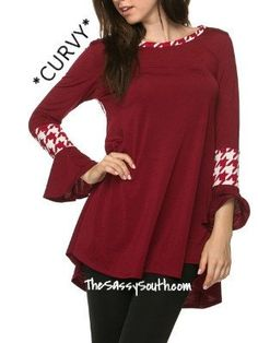 (Curvy) Burgundy Bell Sleeve Blouse with Houndstooth Accents - Shop away, you sassy thing! TheSassySouth.com  The Sassy South Boutique