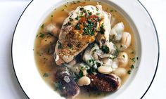 Nigel Slater's chicken, sausage and butter bean broth