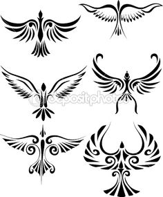 Bird tattoo silhouette by Surya Ali Zaidan - Stock Vector