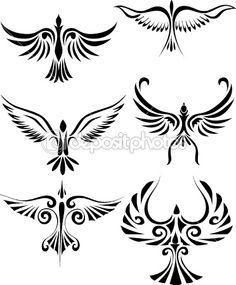Bird tattoo silhouette by Surya Ali Zaidan - Stock Vector