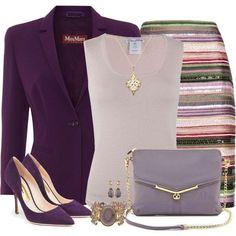 Fashion Style Combination - Purple Jacket, Lavendar, Striped Pencil Skirt, Lavender Clutch Handbag, Purple PUmps.