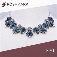 Burnished silver tone multistone necklace Beautiful blues of the sea! Lovely sparkle! Burnished silver tone! Lovely- 1/6 Jewelry Necklaces