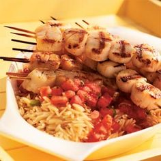 Grilled Scallops with Tomato-Mint Sauce and Orzo    and wine suggestions.