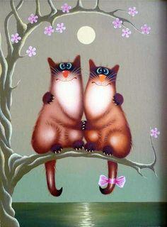 Чудесные коты художника Александра Зотова :: Коты и кошки - рисунок, графика, живопись