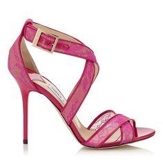 Raspberry Neon Lace Sandals
