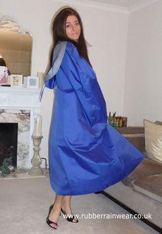 Hayley in blue rubber-lined satin cape. Clear Raincoat, Blue Raincoat, Staff Uniforms, Latex Costumes, Rubber Raincoats, Rain Wear, Fashion Dresses, Women Wear, Lurcher