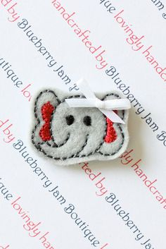 Embroidered Felt Elephant Faces with Bows  by blueberryjamboutique, $5.40