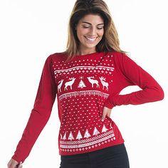red reindeer long sleeve top