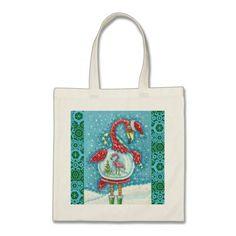 Flamingo White Christmas HOLIDAY Budget TOTE