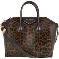 Givenchy Medium Khaki Leopard Print Antigona Tote Bag found on Polyvore