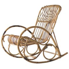 Franco Albini Style Wicker Rocking Chair  MidCentury Modern, Natural Material, Accent  Occasional by The Swanky Abode
