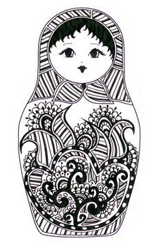 Matryoshka - coloriage - would make a neat cross stitch Doodles Zentangles, Embroidery Designs, Doll Drawing, Matryoshka Doll, Thinking Day, Russian Art, Coloring Book Pages, Digi Stamps, Paper Dolls
