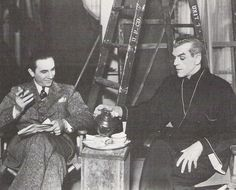 this image of Karloff and occasional co-star, occasional rival Bela Lugosi on the set of their 1934 team-up The Black Cat.