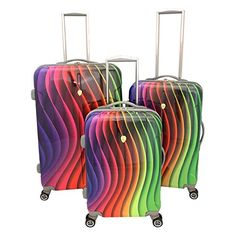 Luggage Sets Collections | Dejuno Prism Spectrum 3Piece Hardside Lightweight Spinner Luggage Set Rainbow * Want to know more, click on the image. Note:It is Affiliate Link to Amazon.