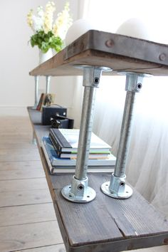 Double Shelf Console Table made with Reclaimed Grey-washed Scaffolding Board and Galvanised Steel Pipe - Bespoke Urban Industrial Furniture