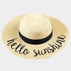 8584c826da878d Amtal Women Elegant Wide Brim Embroidered Beach Pool Floppy Summer Vacation Sun  Hat (Hello Sunshine) - Girl N Glam