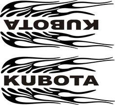 """PAIR OF KUBOTA FLAMING BLACK  DECALS    1 L & 1 R  SIDE 4"""" X 9"""" EACH #KUBOTA"""