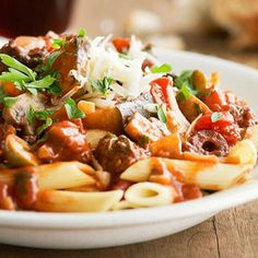 Pasta with Eggplant Sauce From Better Homes and Gardens, ideas and improvement projects for your home and garden plus recipes and entertaining ideas.