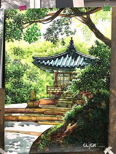 Watercolor Pencil Art, Japanese Watercolor, Beach Watercolor, Watercolor Artwork, Watercolor Landscape, Landscape Art, Watercolor Flowers, Landscape Paintings, Landscape Pencil Drawings