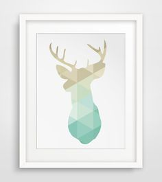 Mint and Gold Art, Deer Art, Gold Mint Deer, Deer Print, Gold and Mint Prints, Deer Head, Deer Wall Art, Printable Art, Geometric Animal