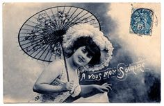 Old Fashioned Postcard - French Lady with Parasol - The Graphics Fairy
