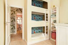 Triple bunk beds for kids. I would paint each bed's wall with its own color, to allow for each child's personality to show, making sure that I end up with coordinating colors. -   -  To connect with us, and our community of people from Australia and around the world, learning how to live large in small places, visit us at www.Facebook.com/TinyHousesAustralia