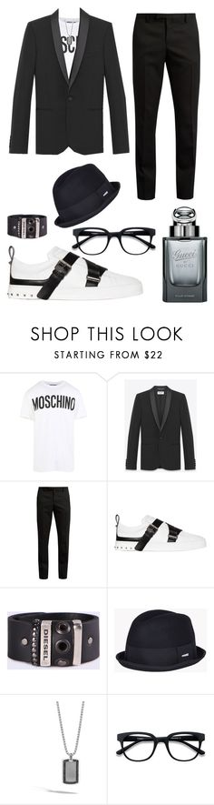 """""""Untitled #26"""" by ladypeacful ❤ liked on Polyvore featuring Moschino, Yves Saint Laurent, Valentino, Diesel, Dsquared2, John Hardy, EyeBuyDirect.com, Gucci, men's fashion and menswear"""