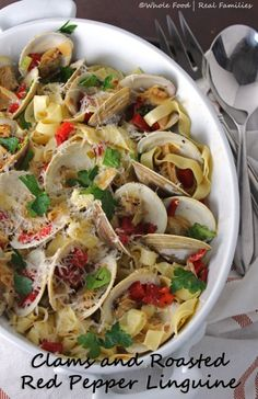 Rich broth and fresh pasta make Clams and Roasted Red Pepper Linguine ...
