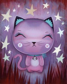 Jeremiah Ketner, a Chicago based Artist who paints charming little creatures floating through pastel dreamscape's. His Japanese pop art influenced imagery tends to describe the a more casual and carefree side of life. Ketner has been busy painting and exhibiting his works all over the nation.