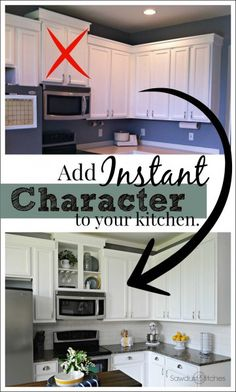This is a easy and nearly FREE way to add instant character to your kitchen. Full Tutorial:  www.sawdust2stitches.com