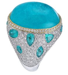 Akiva Gil Company white gold cocktail ring with a ct. Paraiba cabochon center encircled in yellow gold with diamond accents and paraiba tourmalines. This has to be one of the most beautiful rings ever! Gemstone Jewelry, Jewelry Rings, Fine Jewelry, I Love Jewelry, Unique Jewelry, Jewelry Art, Schmuck Design, Diamond Are A Girls Best Friend, Cocktail Rings