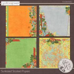 Sunkissed Digital Scrapbook Stacked Papers. $2.99 at Gotta Pixel. www.gottapixel.net/