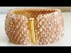 Beaded Netted Bracelet Tutorial With Bicone - Kristal Bileklik Yapımı - YouTube