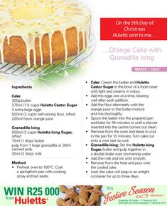 Huletts orange cake with grenadilla icing - Good Housekeeping Food Truck Desserts, No Bake Desserts, Dessert Recipes, Baking Recipes, Cookie Recipes, Carrot Cake Bread, Afternoon Tea Recipes, Just Cakes, Caribbean Recipes