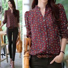 $5.99 - S M L Women Chiffon Gentlewoman Long Sleeve Shirt Button Down Shirt #ebay #Fashion