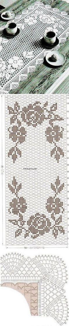 "Белоснежная салфетка прямоугольной формы с розами. [ ""A white rectangular cloth with roses. Filet Crochet Charts, Crochet Doily Patterns, Crochet Borders, Crochet Art, Crochet Home, Thread Crochet, Vintage Crochet, Crochet Designs, Crochet Stitches"