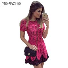 8090cfc06ae2 Aliexpress.com   Buy 2016 Spring And Autumn Women Dress Short Sleeve O Neck  Pink Lace Dresses Sexy Party Elegant Straight Bodycon Slim Clothes. from ...